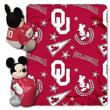 Oklahoma Sooners NCAA Mickey Mouse Throw and Hugger Pillow Set