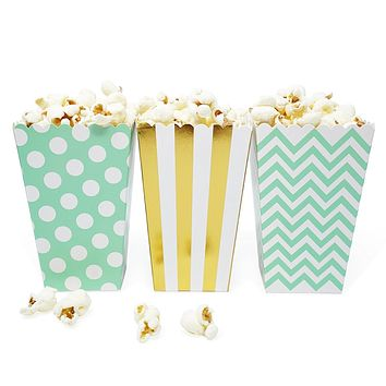 36 Mint Gold Polka Dot Stripe Chevron Mini Popcorn Candy Party Favor Boxes