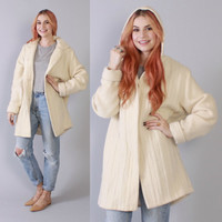 Vintage 80s SWEATER COAT / 1980s Unworn Thick & Warm Cable Knit WOOL Ivory Hooded Jacket New
