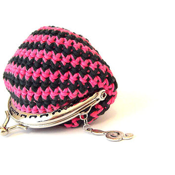 crochet  coin purse, crochet wallet, women accesories, gift, elegant  purse, colorfull multicolour coin purse, cotton purse, poletsy