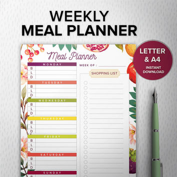 Meal Planner PDF Printable, Diy Shopping list, A4/Letter, Desk Manager, INSTANT DOWNLOAD