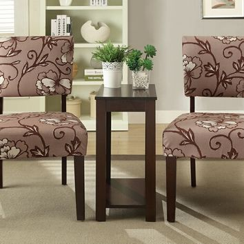 3 pc Sheryl II collection espresso finish wood accent chair and side table set with floral design patterned fabric