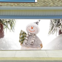 Christmas Garage Door Cover Banners 3d Snowman Holiday Outside Decorations Outdoor Decor for Garage Door G48