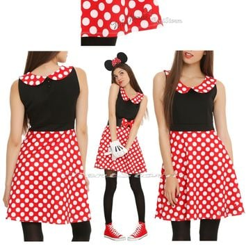 Licensed cool DISNEY MINNIE MOUSE Red White POLKA DOT Cosplay Costume DRESS JRS. S-L NEW