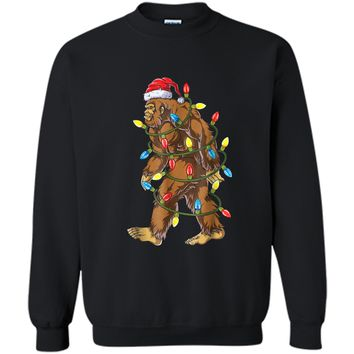 Bigfoot Christmas  Santa Xmas Tree Lights Boys Gifts Printed Crewneck Pullover Sweatshirt