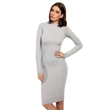 2018 New Knitted Sexy Women Summer Sweater Lengthen Tank Dress r Autumn Pocket Solid Vestidos Ribbed Robe Femme
