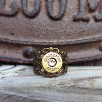 Bullet jewelry. Bullet ring with Winchester .38 special casing
