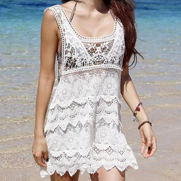 Women Boho Flora Lace Crochet Dress, Beach Honeymoon Swimsuit Cover-Up