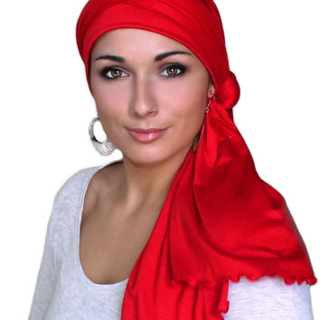 Red Jersey Turban, Head Wrap, Alopecia Scarf, Chemo Hat and Scarf Set