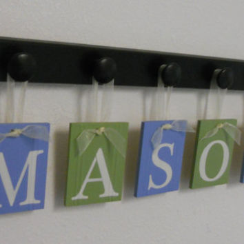 Custom Nursery Letters - Baby Name Wall Hanging - Light Blue and Green Plaques Personalized for MASON with 5 Wooden Pegs Black