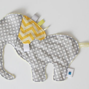 CUSTOM Elephant Taggie, Soft, Textured toy, Minky, Ribbons, Sensory toy, Tactile Stimulation, Tags, Cute baby gift