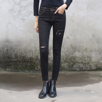 Skinny High Waist Black Ripped Jeans for Women Winter Tassels Hole Levy Jeans Female Denim Boyfriend Pants