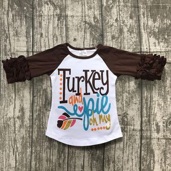 fall/winter baby girls thanksgiving brown cotton icing sleeve top t-shirts raglans my turkey and pie leaf children clothes kids