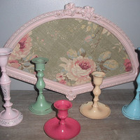 6 piece grouping Painted candle sticks Shabby by MamaLisasCottage