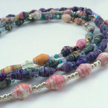 Handmade Paper Bead Necklaces