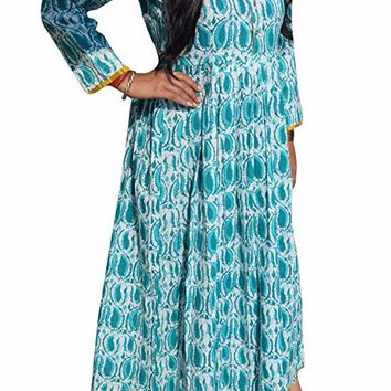 Mogul Interior Womens Long Flare Botton Front Cotton Dress M (Teal Green): Amazon.ca: Clothing & Accessories