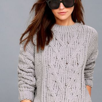 Beth Grey Cable Knit Sweater