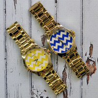 Canton Way Gold Zig Zag Chevron Watches