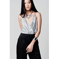 Silver crop top with wrap neck