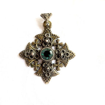 Vintage Sterling Silver Jerusalem Cross Pendant Emerald Green Center Stone