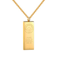 """14k Gold Tone Bar Style Pendant Stainless Steel In Gold We Trust 24"""" Necklace"""