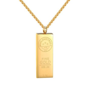 "14k Gold Tone Bar Style Pendant Stainless Steel In Gold We Trust 24"" Necklace"