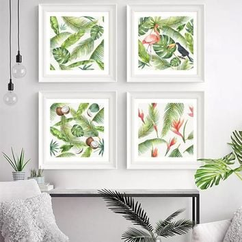 Watercolor Canvas Wall Art Banana Leaf Birds Prints Rainforest Palm Leaves Flamingos Wall Pictures Relaxation Artwork Decor Gift