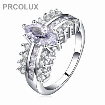 PRCOLUX Vintage Female Geometric Ring Set 925 Sterling Silver jewelry White CZ Wedding Engagement Rings For Women Gifts XA023