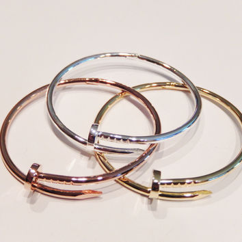 Stainless Steel Silver or 18k Yellow Gold Plated Nail Cuff Bracelet
