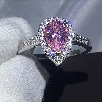 Handmade Jewelry 925 Sterling silver Engagement wedding band rings for women Pear cut 3ct Pink AAAAA zircon crystal