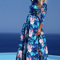 Blue Floral Long Sleeve Pleated Long Dress