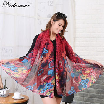 hot sale winter autumn woman  oil painting scarf girl Shawl hijab and wrap  ladies long style new design Summer Beach cover-up