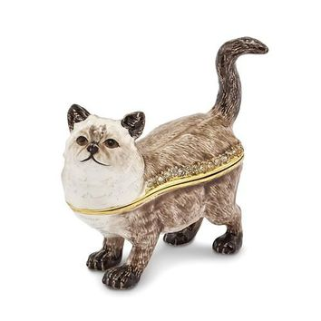 Bejeweled Himalayan Cat Enameled Trinket Box