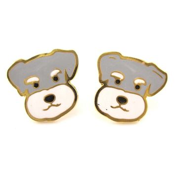 Adorable Schnauzer Puppy Dog Face Shaped Stud Earrings | Limited Edition