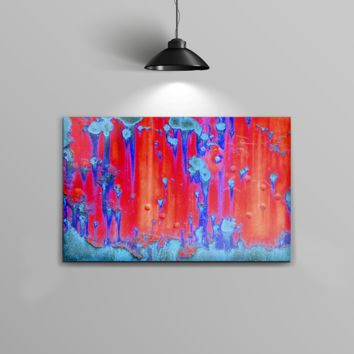 The Bright Red v2 Metal with Turquoise Rust Home Decor Stretched Wall Canvas Print