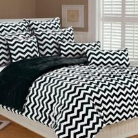 Marlo Lorenz 4892 Chevron Microplush Comforter Set, Black/White, Twin