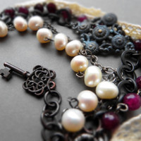 Bohemian multistrand patina bracelet / garnet, white freshwater pearls, cotton lace, oxidized brass, black chain