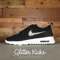 Women's Nike Air Max Thea Running Shoes By Glitter Kicks - Customized With Swarovski Crystal Rhinestones - Black/Grey/White