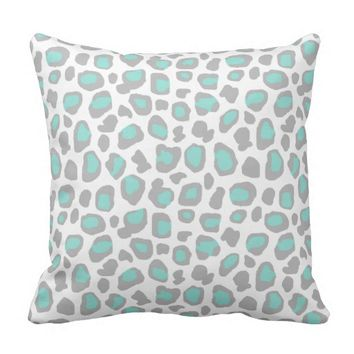 Aqua Blue Gray Grey Leopard Animal Print Pattern Throw Pillow