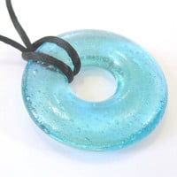 Aqua Blue Donut Necklace Glass Necklace Water by mysassyglass