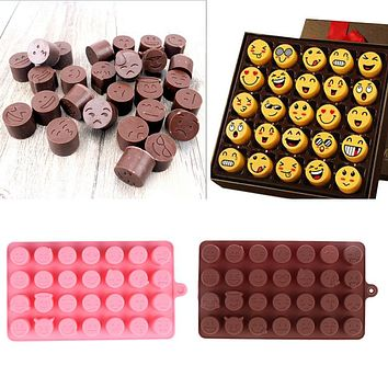 28-even DIY Emoji Cake Chocolate Cookies Ice Cube Soap Silicone Mold Tray Baking Mold Personality Expression Ice mold