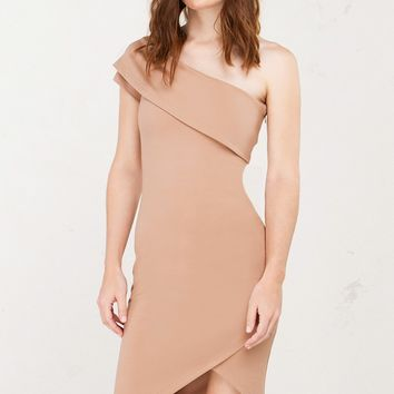 AKIRA One Shouldered Short Sleeve Bodycon Dress With Wrapped Asymmetric Hem in Grey and Tan