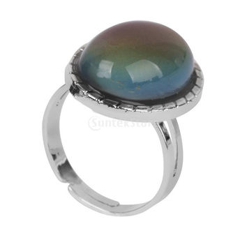 Phenovo Vintage Style Oval Mood Jewelry Ring Color Changing Adjustable = 1946180164