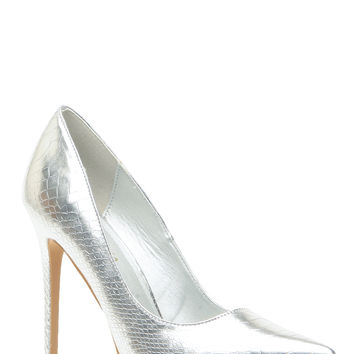 Silver Faux Snake Skin Pointy Toe Classic Pumps