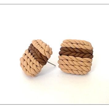 Knitted Brown Earrings, Polymer Clay Jewelry, Square Stud Earrings, Boho, Knitted Jewellery, December Gifts, Gifts For Mom, Christmas Sale