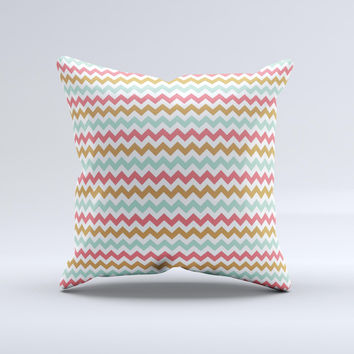 Vintage Brown-Teal-Pink Chevron Pattern Ink-Fuzed Decorative Throw Pillow
