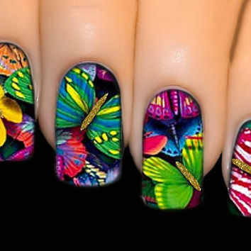 Nail Stickers - Butterfly Gathering - FULL COVER SERIES Nail Art Water Transfer Decal Sticker