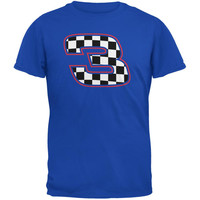 Racing Number 3 Checkered Flag Royal Adult T-Shirt