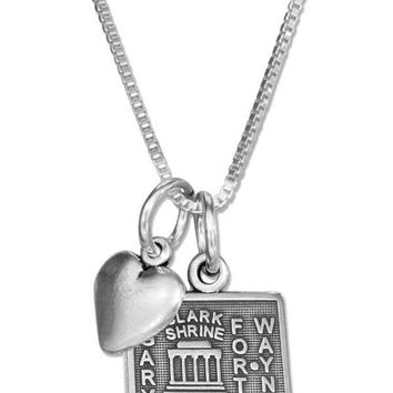 "Sterling Silver 18"" Indiana State Pendant Necklace With Heart Charm"