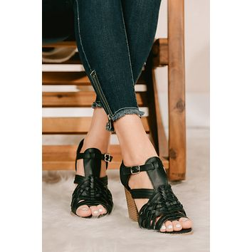 Stepping It Up Braided Cage Heel (Black)